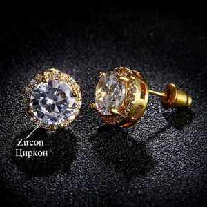 2 CT Round Solitaire Diamond Gold Earrings